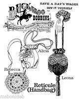 Buckaroo Bobbins 1800s Victorian Reticule Handbag 3 Styles Purse Sewing Pattern