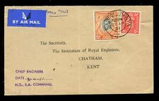 KUT 1951 FORCES AIRMAIL MIXED FRANKING 20c + 1d to CHATHAM...NAIROBI CDS