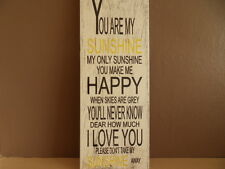 Shabby You Are My Sunshine plaque, chic and unique