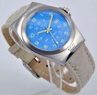 Glycine Herrenuhr Quartz Analog Edelstahl Uhr mit Leder Armband Datum 3854.18