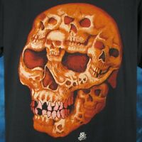 NOS vintage 80s SKULL FACE CARTOON PAPER THIN T-Shirt L/XL biker skeleton punk