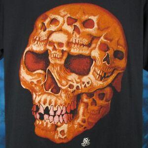 NOS vintage 80s SKULL FACE CARTOON PAPER THIN T-Shirt L/XL biker skeleton punk