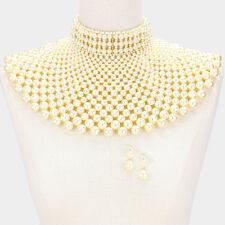 "13"" gold dark cream pearl armor choker necklace collar 2"" earrings egyptian"
