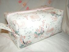 HANDMADE LARGE BOX STYLE MAKE-UP BAG / PENCIL CASE SWAN FABRIC
