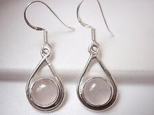 Rose Quartz Globe in Hoop 925 Sterling Silver Dangle Earrings Corona Sun Jewelry