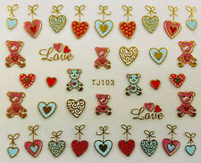 Nail Art 3D Decal Stickers Valentine's Day Teddy Bears Hearts Love Tj103