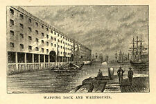 Liverpool, Wapping Dock and Warehouse, engraving, 1880s