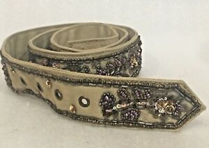 """FOSSIL Brand BELT Heavily BEADED Embellished CANVAS 32""""-34"""""""