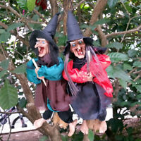 "12""Halloween Hanging Animated Talking Witch Props Laughing Sound Control Decor E"