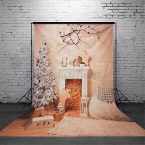 150x210cm Weihnachten Kamin Baum Fotografie Hintergrund Fotostudio Kulisse Vinyl