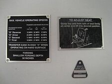 DECAL HUMVEE M998 HMMWV MWO TO ADJUST SEAT DATA PLATE FOR MAX OPERATING SPEED *