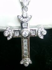 LARGE SILVER CROSS  925  ENHANCED WITH WHITE ZIRCON