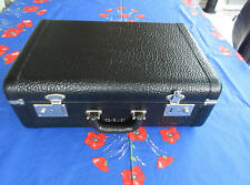 1940s : CARSON Quality Luggage  Black Leather Carry-on Hard Suitcase Blue Lining