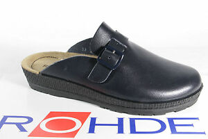 Rohde Beck Women Clogs Slippers House Shoes Sabot Leather Blue 143856 New