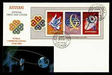 DR WHO 1983 AITUTAKI COOK ISLANDS FDC WORLD COMMUNICATION YEAR S/S SPACE g42361