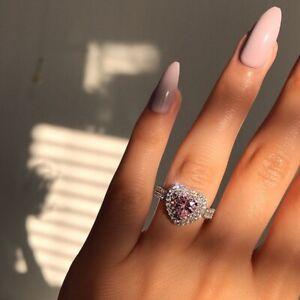 Elegant 925 Silver Rings Women Pink Sapphire Wedding Jewelry Rings Gift Sz 5-10