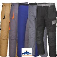 Portwest Contrast Mens Work Trousers Pants Knee Pad Pockets Half Elastic Waist