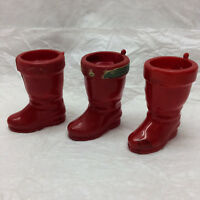 3 Vintage Candy Container Rosbro Plastics Santa Boot Made in Rhode Island