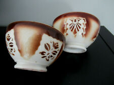 2 Bols anciens décor floral  marron estampillé