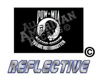 """1- Black POW FLAG Decal Reflective Flag DECAL Sticker 5"""" inch"""