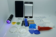 Samsung Galaxy  S2 II GT-I910 Black Front Glass, Screen Repair Kit, Glue, Torch