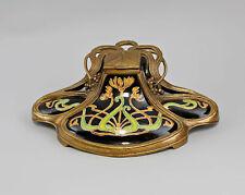 9937899-dss Schreibgarnitur Tintenfass Jugendstil Keramik/Bronze