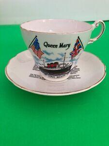 RMS QUEEN MARY Tea Cup Saucer Dedication REGENCY CHINA England, CUNARD LINE