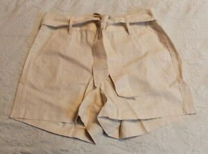 J. Crew Women's Tie Front Linen Blend Shorts SV3 Natural Size 10 NWT