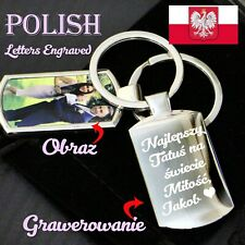 Personalised Polish letter Engraving  Keyring Printed Front,Photo Grawerowanie ❤