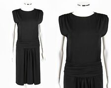 PRADA Black Knit Sleeveless Gathered Draped Drop Waist Cocktail Dress Size 38