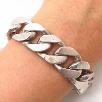 """925 Sterling Silver Vintage Heavy Wide Men's Cuban Link Bracelet 8 1/4"""""""