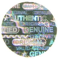 272 Authentic Original, Hologram silver stickers labels seal 8mm C8-1S