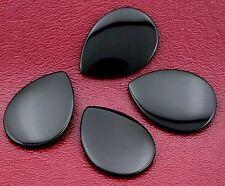 TWO 30x22 30mm x 22mm Pear Flat Top Black Onyx Cab Cabochon Gem Gemstone bo81