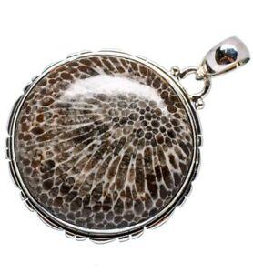 Sterling Silver Hallmarked Alaskan Stingray Coral Pendant Necklace 13 Grams