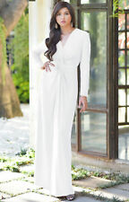 Womens Long Sleeve Semi Formal Elegant Fall Winter Flowy V-Neck Gown Maxi Dress
