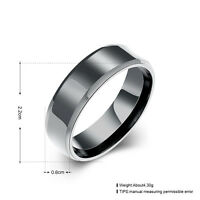 Black Colour Solid Titanium Steel 6mm Fashion Plain Band Ring Jewelry Male Gift