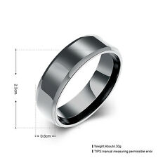Black Colour Solid Titanium Steel 6mm Fashion Plain Band Ring Jewelry Male Gift 9