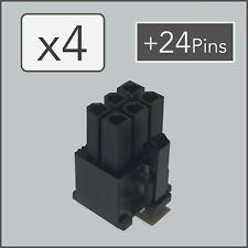 x4 6 pin Female PCI-e GPU Power Connector Socket - Black + 24 Pins