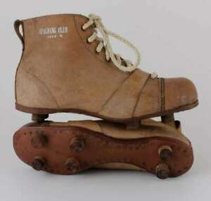 Spalding Club Football Boots. Antique Vintage Brown Leather Soccer Shoes c1940
