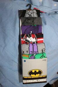 NEW♈MENS Batman Cartoon characters 6 pair casual crew socks Shoe Size 8-12
