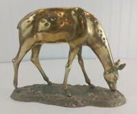 Large Vintage Brass Deer Mid Century Modern MCM Spotted Doe ON BASE RARE Heavy
