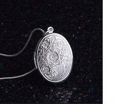 Women's Argento riempito Floreale Foto Medaglione Ciondolo Collana Jewellery UK