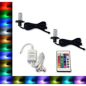 H4 9003 27 SMD RGB Multi-Color Changing Shift Led Fog DRL Light Bulb IR Pair 7X6