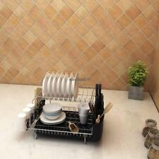 304 Stainless Steel 2-Tier Dish Drying Rack Plates Bowl Storage Organizer H