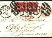 GB Cover 1d Pink London Uprated Germany Gotha QV DESTINATION MAIL 1872 40a.12