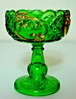 Antique EAPG Croesus Riverside Footed Compote-Emerald Green With Gold Trim