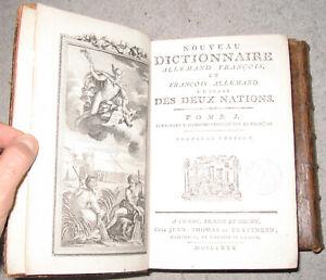RARE EDITION NOUVEAU DICTIONNAIRE FRANCAIS ALLEMAND GRAVURE 2/2 IN4 TBE 1780
