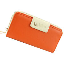 Women Lady Leather Wallet Clutch Long Purse Zipper Handbag Bag Orange Fast US