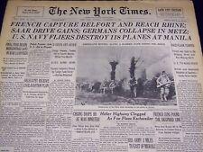 1944 NOVEMBER 21 NEW YORK TIMES - GERMANS COLLAPSE IN METZ - NT 2355