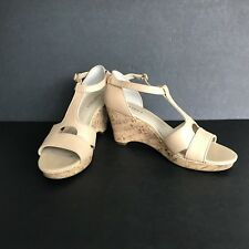 Ellen Tracy Shoes Women's Size 8.5M Beige Leather Parry Cork Wedge Sandals